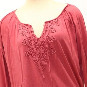 Chaps Tops - Chaps Red/Rose XL Vneck 3/4 Sleeve Cotton Blouse